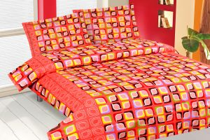 Royal Choice Orange Cotton Double Bedsheet Alongwith Two Pillow Covers