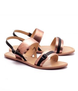 Naughty Walk Bronze & Black Genuine Leather Sandals 701