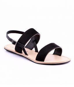 Naughty Walk Black Genuine Leather Sandals 702