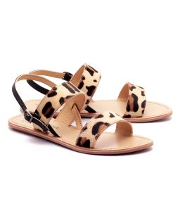 Naughty Walk Tiger Print Genuine Leather Sandals 702