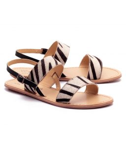 Naughty Walk Zebra Print Genuine Leather Sandals 702