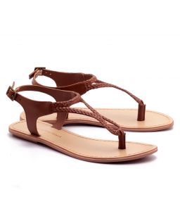 Naughty Walk Tan Genuine Leather Sandals 704