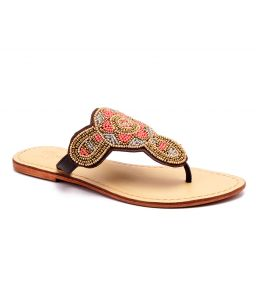 Naughty Walk Genuine Leather Multi Gold Ethnic Sandals 714