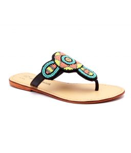 Naughty Walk Genuine Leather Multi Green Ethnic Sandals 714