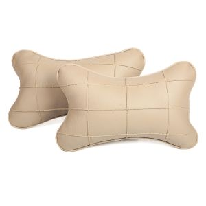 Pegasus Premium Beige-beige Car Neck Pillow (set Of 2)
