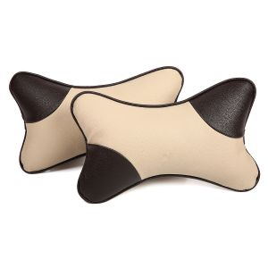 Pegasus Premium Beige-grey Car Neck Pillow (set Of 2)