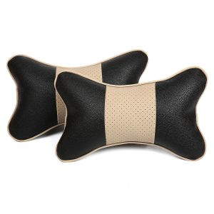 Pegasus Premium Black-beige Car Neck Pillow (set Of 2) (code - Black_beigecenterpunching_10)