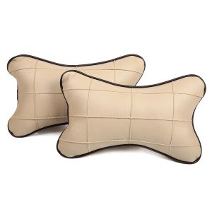 Pegasus Premium Beige-black Car Neck Pillow (set Of 2) (code - Beige_beigeboxes_pipeblack_12)