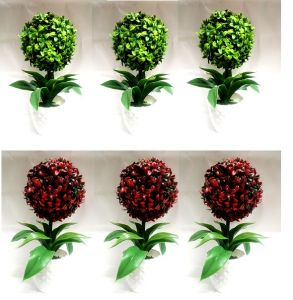 Flowers - Artificial Ball Multicolour Bonsai plants - Set of 6 PCS