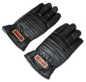 Black Winter Artificial Leather Gloves For Men