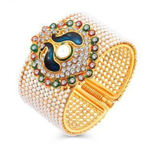 Shostopper Traditional Style Gold Plated Pearl Studded Kada Bangle For Women Sj12001k