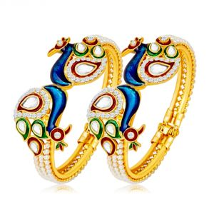 Shostopper Excellent Peacock Design Gold Plated Pearl Studded Kadas For Women Pack Of 2 (code - Sj12002k500 )