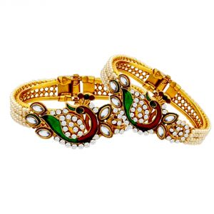 Shostopper Traditional Peacock Design Gold Plated Pearl Studded Kadas For Women Pack Of 2 ( Code - Sj12003k500 )