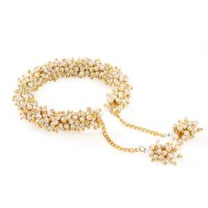 Shostopper Traditional Pearl Studded Gold Plated Kada For Women ( Code - Sj12004k550 )