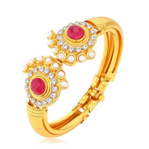 Shostopper Traditional Pearl Studded Gold Plated Kada For Women ( Code - Sj12005k350 )
