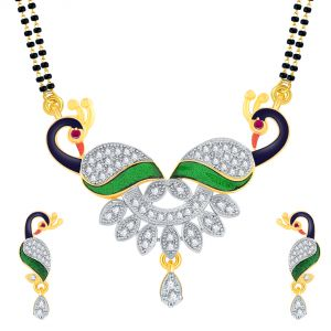 Shostopper American Diamond Gold Plated Peacock Mangalsutra With Chain And Earrings For Women Sj14001ms