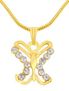 Shostopper Butterfly Gold Plated Pendant Chain (code - Sj18002pb100)
