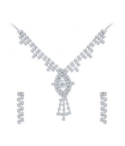 Shostopper Enchanting Rhodium Plated Australian Diamond Necklace Set