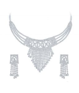 Shostopper Ravishing Rhodium Plated Australian Diamond Necklace Set