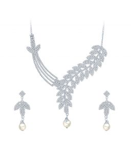 Shostopper Beguiling Rhodium Plated Australian Diamond Necklace Set
