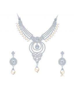 Shostopper Pretty Rhodium Plated Australian Diamond Necklace Set