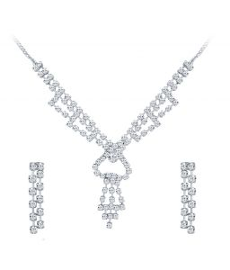 Shostopper Intricately Rhodium Plated Australian Diamond Necklace Set
