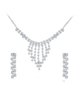 Shostopper Glistening Rhodium Plated Australian Diamond Necklace Set