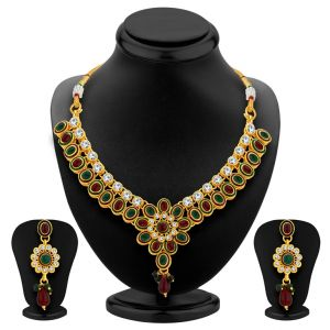 Shostopper Resplendent Gold Plated Australian Diamond Necklace Set Sj2029n
