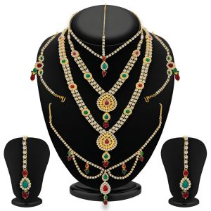 Shostopper Luxirious Gold Plated Dulhan Necklace Set Sj2031n