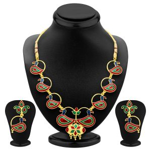 Shostopper Delightful Peacock Gold Plated Meenakari Necklace Set Sj2032n