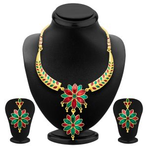 Shostopper Marquise Gold Plated Meenakari Necklace Set Sj2034n