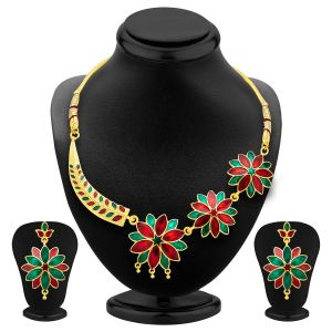 Shostopper Fashionable Gold Plated Meenakari Necklace Set Sj2035n