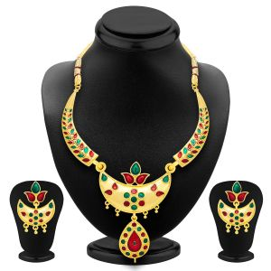 Shostopper Glimmer Gold Plated Meenakari Necklace Set Sj2037n