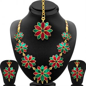 Shostopper Blossomy Gold Plated Meenakari Necklace Set ( Code - Sj2041nb )