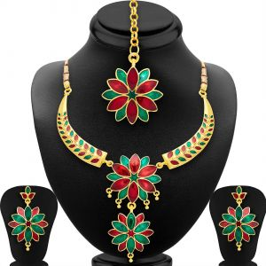 Shostopper Marquise Gold Plated Meenakari Necklace Set ( Code - Sj2042nb )