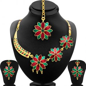 Shostopper Fashionable Gold Plated Meenakari Necklace Set ( Code - Sj2043nb )