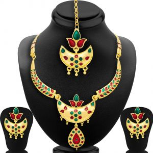 Shostopper Glimmer Gold Plated Meenakari Necklace Set ( Code - Sj2045nb )