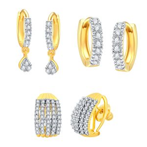 Shostopper Combo Of 3 American Diamond Gold Plated Hoop Earrings For Women/girls Sj230cb