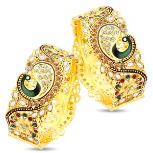 Shostopper Dancing Peacock Antique Gold Plated Bangle Set For Women Sj32002b