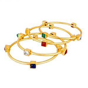 Shostopper Gold Plated Traditional Stone Studded Designer Bangles Set For Women Pack Of 4 (code- Sj32003b350)