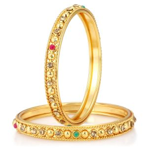 Shostopper Delightful Gold Plated Bangle Set For Women ( Code - Sj32005b200 )