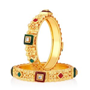 Shostopper Designer Traditional Gold Plated Bangle Set For Women ( Code - Sj32009b600 )