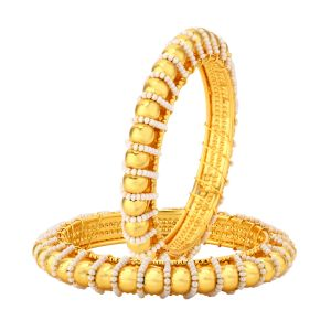 Shostopper Traditional Pearl Studded Gold Plated Bangle Set For Women ( Code - Sj32011b550 )