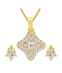 Shostopper Graceful Gold Plated Australian Diamond Pendant Set