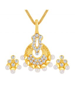 Shostopper Delightful Gold Plated Australian Diamond Pendant Set