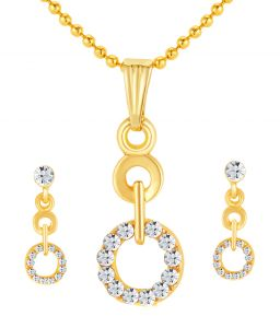 Shostopper Ritzy Gold Plated Australian Diamond Pendant Set