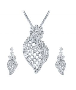 Shostopper Stunning Rhodium Plated Australian Diamond Pendant Set