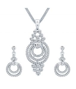 Shostopper Amazing Rhodium Plated Australian Diamond Pendant Set