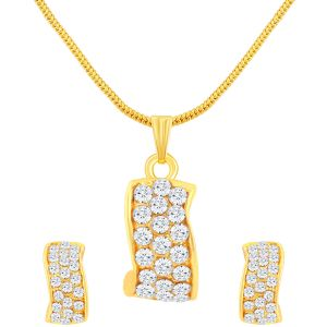 Shostopper Appealing Gold Plated Australian Diamond Pendant Set (code - Sj4027psn180)