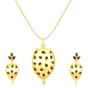 Shostopper Creative Gold Plated Meenakari Pendant Set (code - Sj4028psn350 )